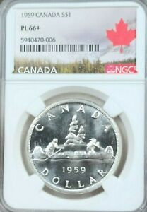 Click now to see the BUY IT NOW Price! 1959 CANADA SILVER 1 DOLLAR S$1 ELIZABETH II NGC PL 66   HIGH GRADE BEAUTY