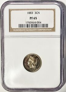 1883 THREE CENT NICKEL NGC PR 65 SUMPTUOUS GOLD TONED GEM W/ HIGH END EYE APPEAL