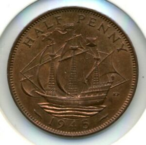GREAT BRITAIN. HALF PENNY. 1945 RED BROWN