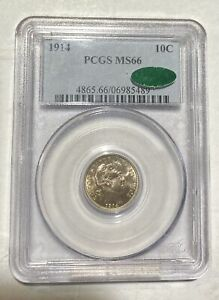 DIMES BARBER OR LIBERTY HEAD 1914 P PCGS MS 66  CAC