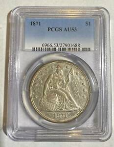 SILVER DOLLARS LIBERTY SEATED 1871 P PCGS AU 53