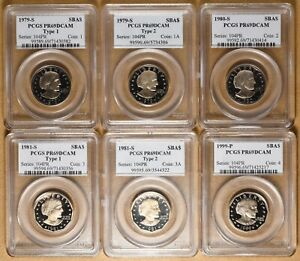 1979 TO 1999 PROOF SUSAN B ANTHONY DOLLARS ALL PR69DCAM PCGS   6 COINS