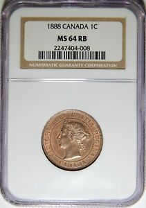 1888 CANADA LARGE CENT NGC MS 64 RB 1C