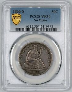 Click now to see the BUY IT NOW Price! 1866 S LIBERTY SEATED HALF DOLLAR  NO MOTTO  50C   PCGS VF30