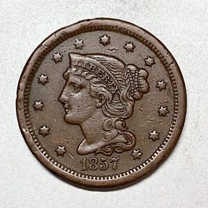 1857  LARGE CENT    SMALL DATE     XF    KEY DATE