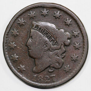 1827 1C CORONET OR MATRON HEAD LARGE CENT EX; 1998 MONTGOMERY COLLECTION
