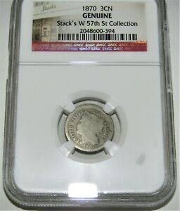 1870 3 CENT NICKEL STACKS W 57TH ST COLLECTION NGC GENUINE
