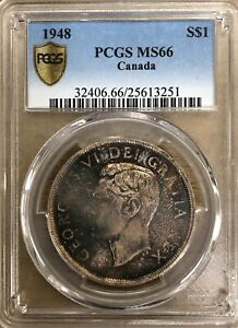 Click now to see the BUY IT NOW Price! 1948 CANADA SILVER DOLLAR   PCGS MS66 SUPERB RARITY   3 ON THE CENSUS   THE BEST