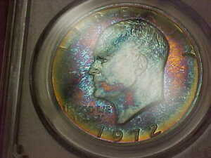 WILD TONED ICE BLUE RUSSET 1972 S EISENHOWER 40  SILVER PROOF SILVER DOLLAR PCGS