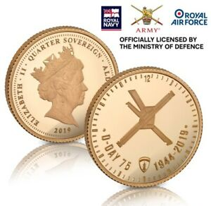 D DAY 75TH ANNIVERSARY GOLD QUARTER SOVEREIGN 1944 2019   NUMBERED COIN   372