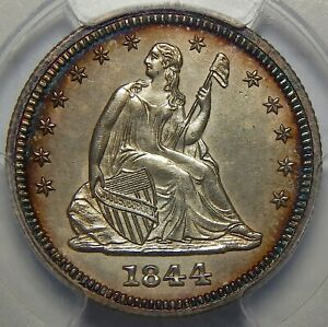 Click now to see the BUY IT NOW Price! 1844 PCGS PR GENUINE ENVIRONMENTAL DAMAGE  UNC DETAILS SEATED LIBERTY QUARTER