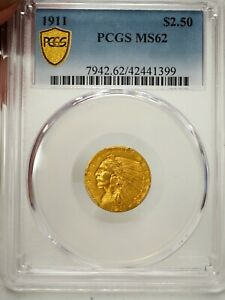 1911 $2.50 MS62 GOLD INDIAN PCGS GRADED GOLD SHIELD  1399