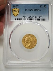1927 GOLD US $2.5 INDIAN HEAD QUARTER EAGLE COIN PCGS MS 63 1403