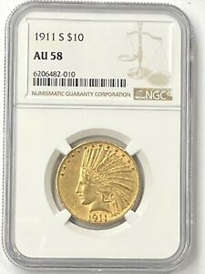 1911 S $10 INDIAN HEAD PRE 33 GOLD EAGLE NGC AU58 ULTRA LOW MINTAGE 51 000