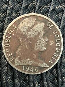 COLOMBIA 5 CENTAVOS 1946 SMALL DATE KM 199