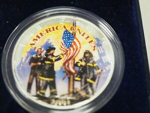 2001 AMERICAN SILVER EAGLE COLORIZED COIN REMEMBERING OUR HEROES 9 11  B