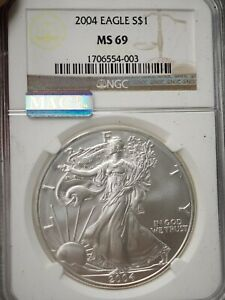 2004 AMERICAN SILVER EAGLE   NGC MS69  4003