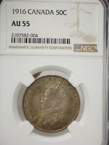 CANADA 1916 50 CENT SILVER COIN NGC AU 55