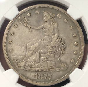 1877 S TRADE SILVER DOLLAR NGC XF DETAILS