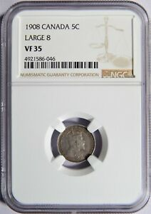 1908 CANADA SILVER 5 CENTS LARGE 8 NGC VF 35 5C