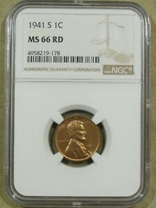 1941 S LINCOLN WHEAT CENT NGC MS66RD STUNNING GEM RED  178