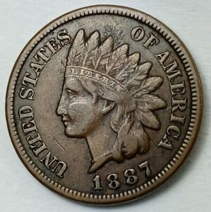 1887 DOUBLE DIE INDIAN HEAD CENT DDO VF CONDITION  DRAMATIC DOUBLING