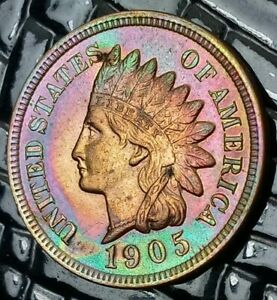 1905 INDIAN HEAD CENT IN CHBU RB CONDITION WITH BEAUTIFUL RAINBOW COLORS