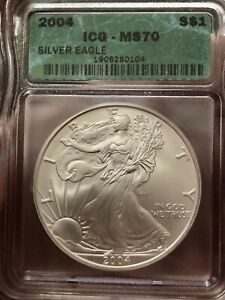 MS 70 2004 $1 DOLLAR AMERICAN SILVER EAGLE GRADED AS A PERFECT MS70 BY ICG