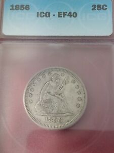 1856 SEATED LIBERTY QUARTER GRADED XF EF40 BY ICG