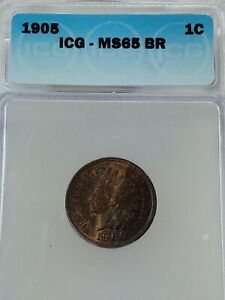 1905 INDIAN HEAD CENT GRADED MS 65 BR BY ICG   FREE S/H