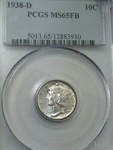 1938 D MERCURY DIME GRADED MS 65FB BY PCGS   INTERESTING TONING ON REVERSE
