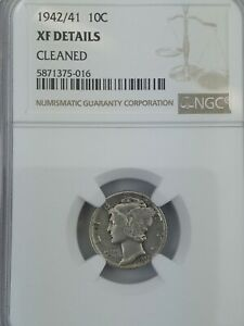 1942/1 MERCURY DIME GRADED XF DETAIL BY NGC CLEANED  MAJOR RARITY