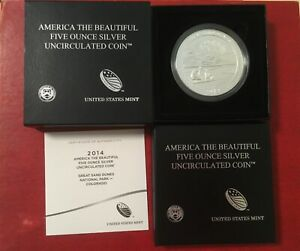 2014 AMERICA THE BEAUTIFUL 5 OZ SILVER UNCIRCULATED COIN: GREAT SAND DUNES