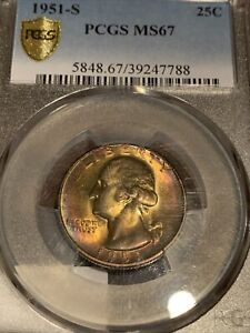 Click now to see the BUY IT NOW Price! 1951 S QUARTER NGC MS67 AMAZING    RAINBOW 2ND FINEST    UPGRADE? TRUE VIEW