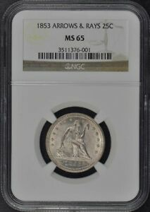 Click now to see the BUY IT NOW Price! 1853 ARROWS & RAYS SEATED LIBERTY QUARTER 25C NGC MS65