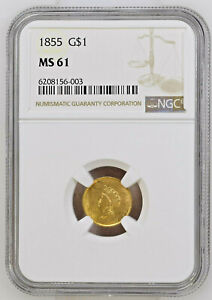 1855 $1 GOLD TYPE 2 MS 61 NGC CERTIFIED