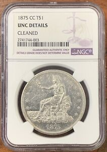 1875 CC TRADE DOLLAR NGC UNCIRCULATED DETAILS UNC KEY DATE