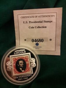 US PRESIDENTIAL STAMPS PROOF SILVER PLATED COIN COLLECTION AMERICAN MINT NEW