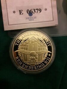 THE AMERICAN SPIRIT 24 KARAT GOLD LAYERED COIN TO REMEMBER THE 9/11 ATTACK