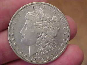 1892 O NEW ORLEANS MORGAN SILVER DOLLAR FULL RIM DATE LIBERTY LETTERING TONED