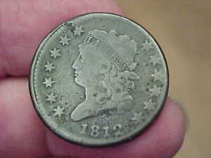 1812 CLASSIC HEAD LARGE CENT PENNY FULL RIM DATE LIBERTY LETTERING TONED