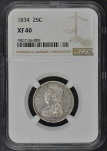 1834 CAPPED BUST QUARTER 25C NGC XF40