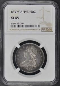 1839 CAPPED CAPPED BUST REEDED EDGE 50C NGC XF45