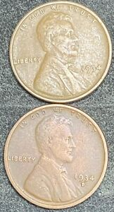 1934 P   1934 D LINCOLN WHEAT CENTS   1