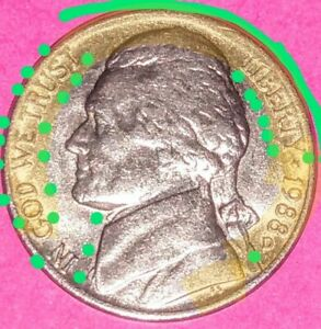 JEFFERSON NICKEL/ ERROR & VARIETY COINS  HERE IN LIST IS JUST TWO OF 3/1988 D