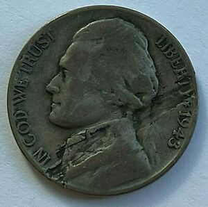 1943 P JEFFERSON WAR NICKEL   OBV AND REV LAMINATION FLAWS