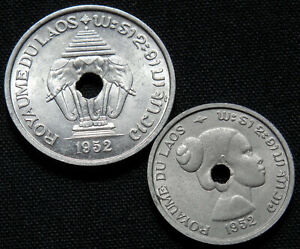 LAOS 1952 2 UNCIRCULATED VINTAGE COINS 10 & 20 CENTS 1952 WORLD FOREIGN