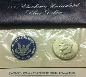 1971 S EISENHOWER SILVER DOLLAR IN BLUE PACK   GET WHAT U C   SHIPS FREE
