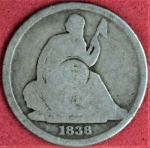 1838 O SEATED LIBERTY DIME NO STARS G DETAILS