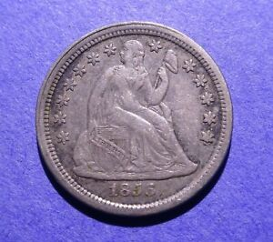 1856 SMALL DATE SEATED LIBERTY DIME  XF